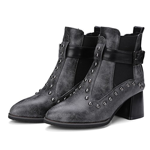 avec Mode Noir Femmes Bloc UH Boucle et Pointu Talons Chaussures Bout Ankle Rivets Bottines en à Boots ZXapFqw