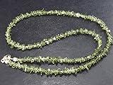 The Russian Stone Gem Moldavit Halskette Perlen mit Sterling Silber Verschluss aus Tschechien, 47 cm - 49...