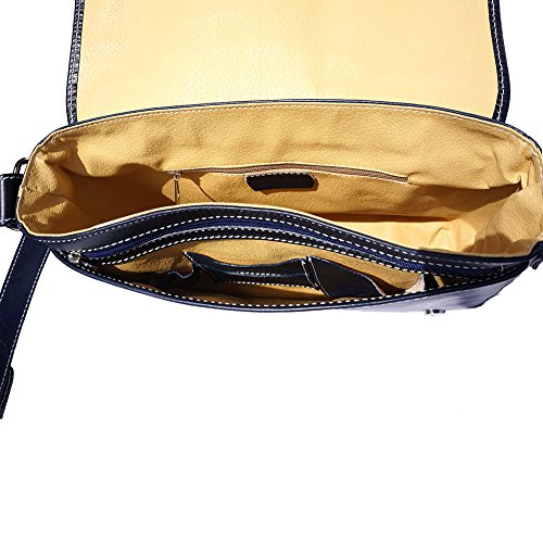 Sac Porte-document Serviette Cartable bandoulière business 6548 Bleu cognac