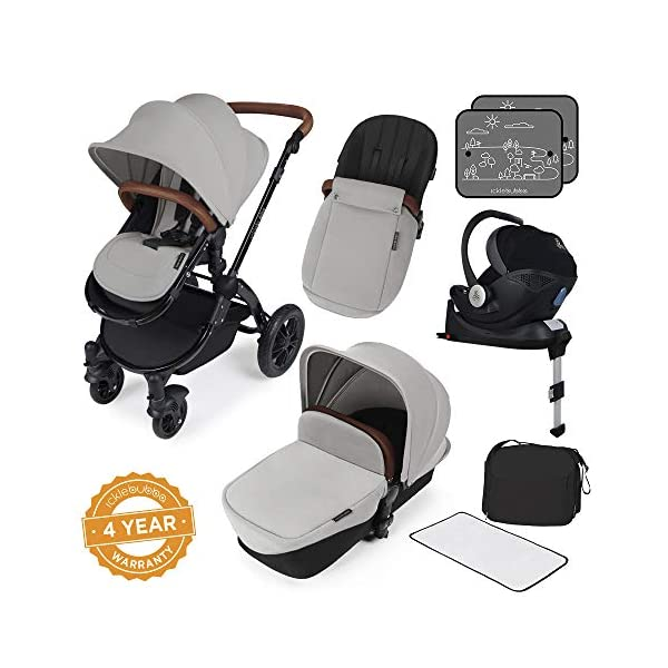 Ickle Bubba Stroller Stomp V3 iSize All-in-One iSize Baby Travel System | Car Seat w/ Isofix Base, Rear and Forward-Facing Pushchair, Carrycot | Silver on Black Frame Ickle Bubba All-IN-ONE TRAVEL SYSTEM: This stylish and attractive two tone complementary design features carrycot, reversible pushchair, and Mercury i-Size car seat. Easy-click release allows for quick transitions between car and stroller. Includes an ISOFIX Base. LIGHTWEIGHT WITH PUNCTURE FREE FOAM TIRES: : 6.5kg chassis with foam wheels allows for a smooth ride, includes an easy press and release single step foot brake locking system FORWARD AND PARENT FACING TODDLER SEAT WITH ALL WEATHER PROTECTION: Multi-position recline allows your child to lie comfortable for naps or sit upright to take in the sights. Protect from rain or shine with a collapsible weather cover. 1