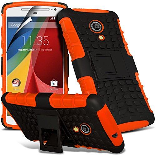 (Arancione) Motorola Moto G 2014 2° generazione XT1068 protezione antiurto Mega Stand Ibridi di Silicio (Manicotto Di Chiusura Copertina)