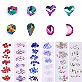 NICOLE DIARY Nail Crystals Flatback Rhinestones AB Color Glass Gems Stone Nail Art