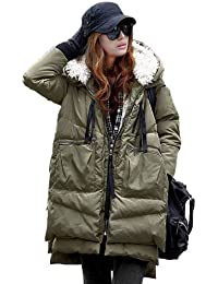 Zicac Women's Hoodies Warm Duck Down Winter Long Outwear Jacket Coat (Eur L:UK12, green long)
