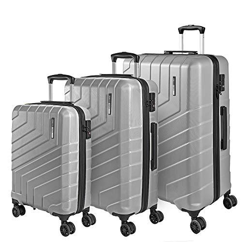 Hartschale 3 Koffer Set mit Handgepäck und Aufgegebenem Gepäck - Ultra Leicht und Robust ABS Kofferset Trolley mit Alu Teleskopgriff - TSA Schloss und 4...