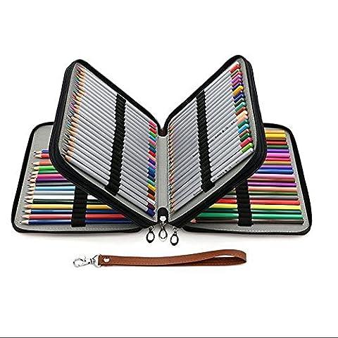 127 Coloured Pencils Wrap Case Multi Layer PU Artist Pencil Carry Bag With Zipper(Pencils Not (Sintetico Cassa Del Cuoio)