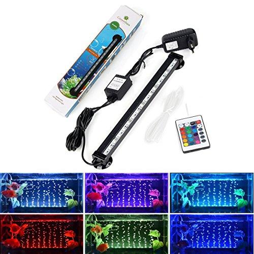 GreenSun LED Lighting Wasserdicht Aquarium LED Beleuchtung Fische Licht Aquariumleuchte RGB 32cm 4W mit Fernbedienung Unterwasserlicht Farbwechsel für Aquarium Fische Tank (Fernbedienung, Fisch)