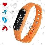 PADGENE Bracelet Connecté Cardiofréquencemètre Podomètre Calories Sommeil Tracker d'Activité Bluetooth 4.0 USB Étanche IP65 Montre Sport Homme Femme pour iOS iPhone Android (Orange)