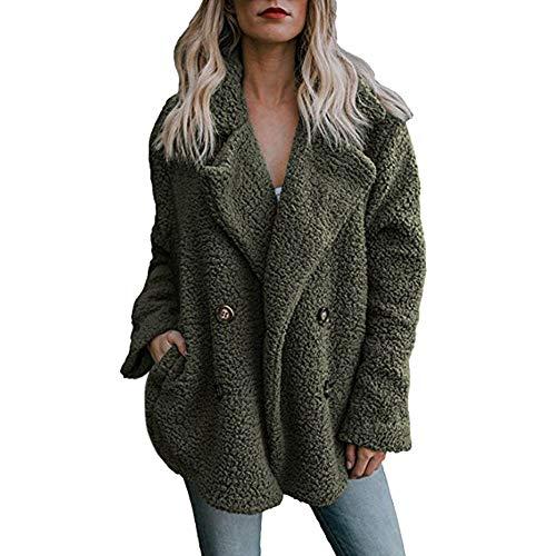 Bazhahei donna top,donna ragazza soffice felpe caldo felpe giubbotto con tasche giacca maglie con bottone cappotto di lana con risvolto donna