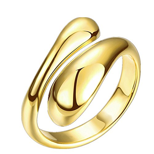 Kostüm Kinder Stern Uk (FJYOURIA Frauen Platin / Gold überzogene verstellbare Ringe Teardrop Daumen Fingerband Ring Damen reißen Wasser Drop Ringe Geschenk Ring UK Größe N1 / 2 US Größe 7 (18 Karat (750))