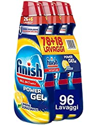 Finish Detersivo Lavastoviglie All in 1 Max Powergel, Limone, 3 x 650 ml, 96 Lavaggi