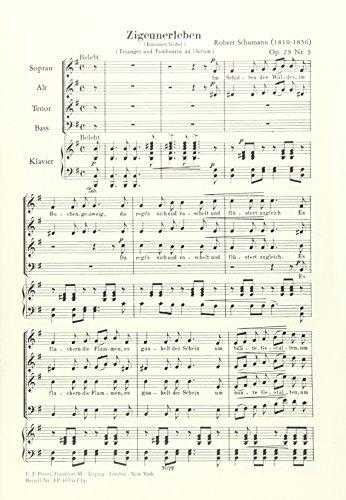 Zigeunerleben op. 29 Nr. 3: für gemischten Chor und Klavier, Triangel und Tambourin ad lib.