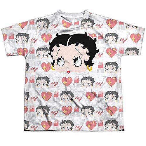 Betty Boop Comic-gesichter herzen lippenstift jugend frontprint T-shirt für Jungen X-Groß Weiß