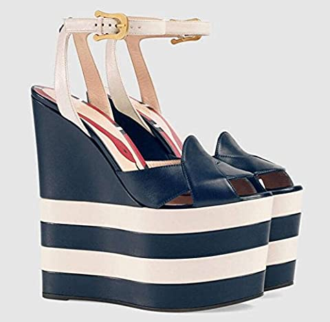 Peep Toe Ankle Strap Platform Wedge Pumps Leather High Sandals 40 41 42 43 Chaussures de grande taille , blue stripes , 36