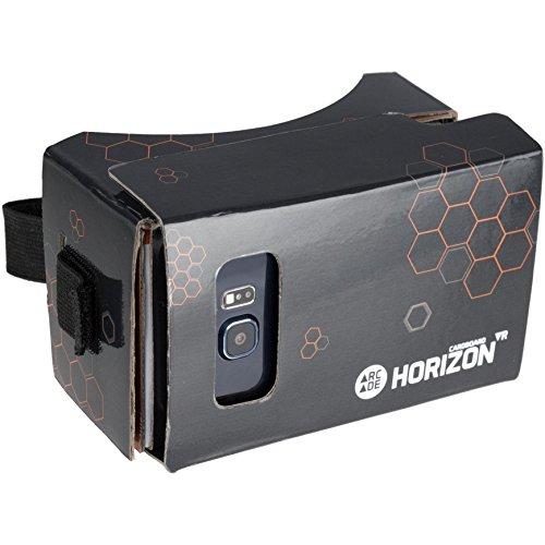 Arcade Horizon Virtual Reality VR Brille aus Robuster Pappe mit Kapazitivem Touchpad und Kopfband kompatibel mit Android und Apple Smartphones - Schwarz