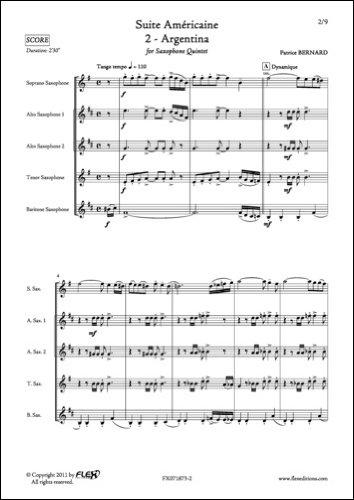 PARTITION CLASSIQUE - Suite Américaine - 2 - Argentina - P. BERNARD - Quintette de Saxophones