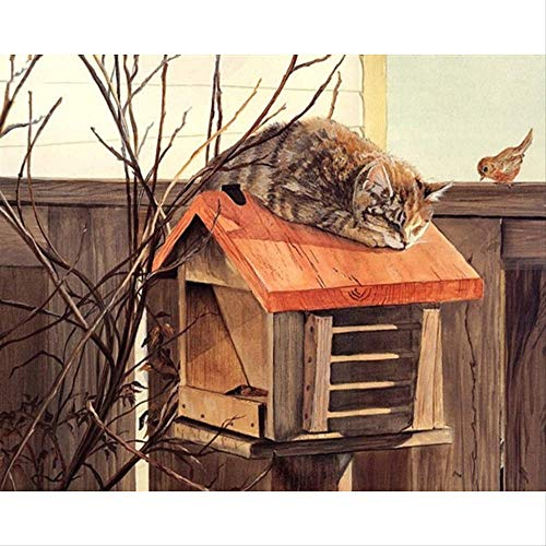 tytuoling DIY Malen Nach Zahlen Cat Auf Der Mailbox Handgemalte Malerei Auf Leinwand Wohnkultur Für Wohnzimmer Geschenk Wandkunst Bild Rahmenlose 40X50 cm (Mailbox Fun)