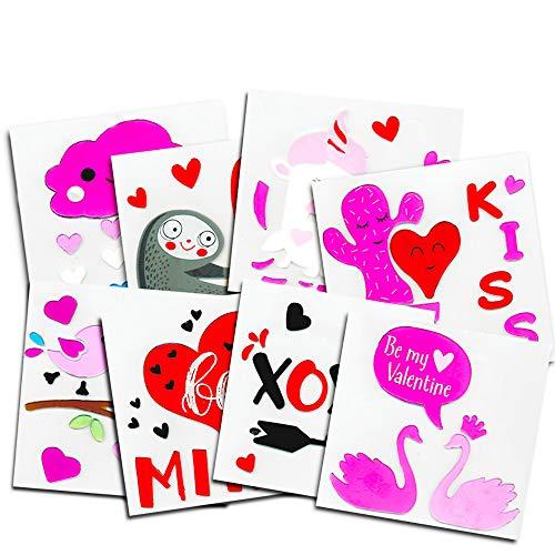 REGENT Valentinstag Herzen Love Gel Aufkleber Fenster klammert Sich an Bundle of 8Pakete