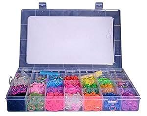 Coffret Kit de Luxe -Métier à Tisser + 5000 Elastiques + 1 Gros Crochet + Clips S + Pendentifs - 100% compatible Rainbow Loom, Cra-Z-Loom et autres kits loom. by Gemtoo
