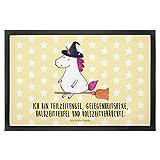 Mr. & Mrs. Panda Fussabtreter, Matte, 40 x 60 Fußmatte Einhorn Hexe mit Spruch - Farbe Gelb Pastell