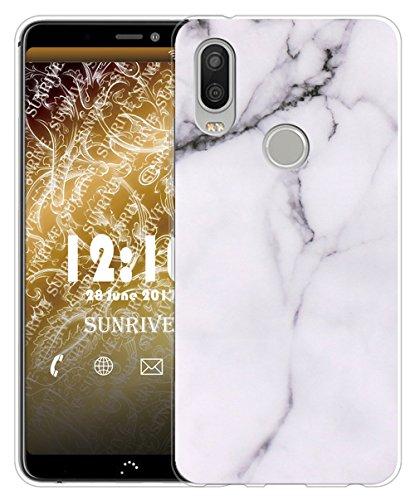 Sunrive Für bq Aquaris X2/X2 PRO Hülle Silikon, Transparent Handyhülle Schutzhülle Etui Case für bq Aquaris X2/X2 PRO(TPU Marmor Weißer)+Gratis Universal Eingabestift