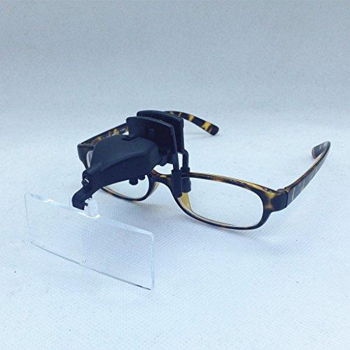 Lupenbrille (1,5X/2,5X/3,5X)3D mit Licht/LED, Lupenclip Brillenlupe