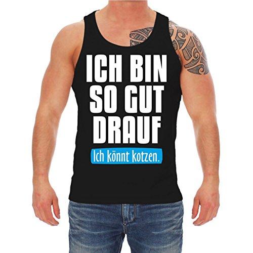 Männer und Herren Trägershirt Ich bin so gut drauf ICH KÖNNTE KOTZEN Schwarz