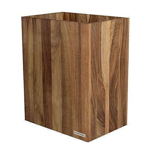 NATUREHOME Papierkorb CLASSIC aus Holz ohne Deckel I Papiereimer oder Mülleimer für Büro, Bad und Wohnzimmer aus Nussbaum Natur geölt I verarbeitet aus hochwertige Materialien im zeitloses Design