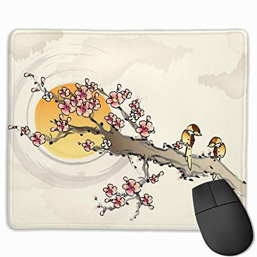 Design Rechteck Rutschfeste Gummi Gaming Mousepad (Plum Blossom chinesische Malerei, 11,81 x 9,84 Zoll) -