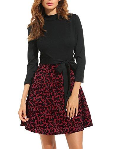 ACEVOG Damen Vintage geblümtes Kleid Freizeitkeid Casual Kleid (EU 42(Herstellergröße:XXL),Schwarz)