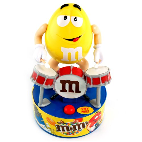 rare-official-mms-rock-stars-yellow-drum-kit-singing-dancing-toy-includes-chocolate-mms-dispenser