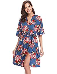 Aibrou Kimono Mujer Pijama Bata Corto Ropa de Dormir Camison Verano Algodon Sexy Batas y Kimonos