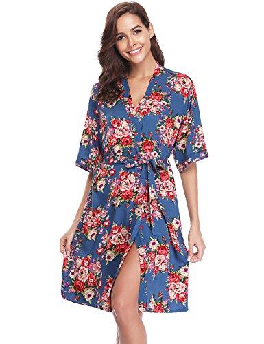 Hawiton Damen Morgenmantel Kimono Blumen Kurz Baumwolle Nachthemd Nachtwäsche V Ausschnitt mit Gürtel Blau S