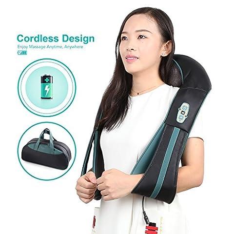 Naipo Nackenmassagegerät Shiatsu Massagegerät für Nacken Schultern kabellos mit 3D-Rotation Massage Wiederaufladbar Akku Wärmefunktion Handtasche für Rücken Füße für Haus Büro Auto