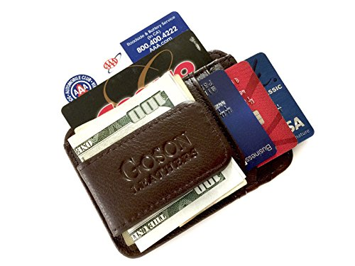 Goson Slim Geldbörse Leder Geldklammer Geldbörse für Herren - Vordertasche Geldbörse, Kreditkarten-Halter, schmale minimalistische Geldbörse - Braun - -