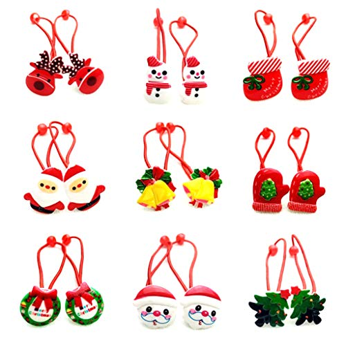 1Pc Baby Girls Cute Merry Christmas Cartoon Style Elastic Hair Rope Tree Santa Claus Jingle Bell Resin Ponytail Holder Rubber Ties Headband Gift