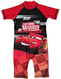 Disney Boys Cars Lightning McQueen Swimsuit Sunsuit Ages 1.5 To 5 Years