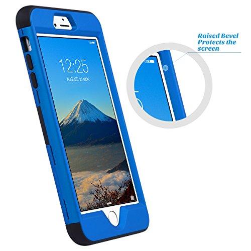 iPhone 6 Plus Hülle 5.5 Zoll, ULAK 3in1 Stoßfest Hybrid High Impact Hart PC und Weiche Silikon Schutzhülle Tasche Case Cover für Apple iPhone 6 Plus /iPhone 6s Plus 5.5 Zoll (Roségold Streifen) Blau + Schwarz