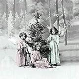 Weihnachten Vintage Servietten Kinder Engel Tanne 20 Stück 3-lagig 33x33cm