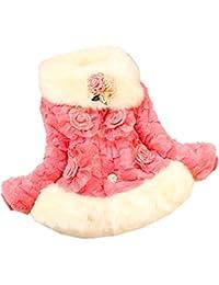 FINEJO Girls Faux Fur Autumn Winter Sweet Flower Outerwear Warm Coat Winter Kids Coat 1-5Y