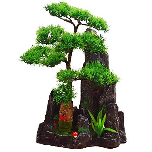 2018 Künstliche Bonsai Baum Pflanze für Büro Zuhause Dekoration, Feng Shui Deko,Japanischer Pinien,Höhe ca.13.39″ / 34 cm (Grün), Green, 03