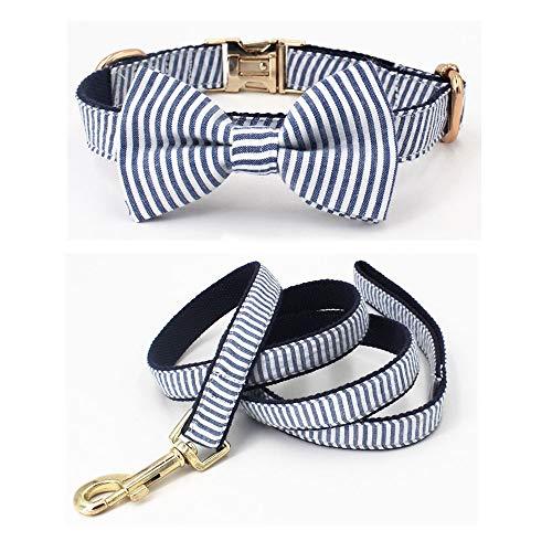 7°MR hundeleine Seersucker Blue Stripe Hundehalsband mit Abnehmbarer Fliege für Hunde für Hochzeit, Party, Familie Fotogeschenke (Color : Collar Leash Bow, Size : L (35.5 58cm)) Hand-seersucker