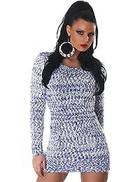 Jela London Damen kuscheliger Strick-Pulli Pullover Strickkleid Minikleid Rundhals-Ausschnitt
