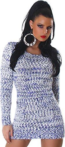 Jela London Damen kuscheliger Strick-Pulli Pullover Strickkleid Minikleid Rundhals-Ausschnitt - Navy , Onesize (34-40)