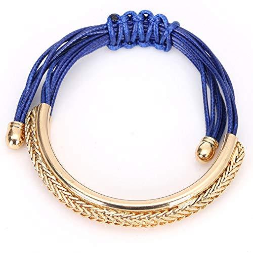 Cool-House-UK Japan und Südkorea Einfacher Schmuck Mode-Legierung gebogenes Rohr handgewebte Wachs-Seil-justierbares Armband Armband weiblicher Schmuck (Rohr Warenkorb)