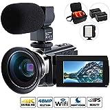 4K Camcorder Videokamera,Cofunkool VlogCamera 48MP Ultra HD Wifi IPS Touchscreen IR-Nachtsicht 16X Digital Zoom für youtube kamera mit Mikrofon, LED Videoleuchte, Weitwinkelobjektiv, Schultertasche