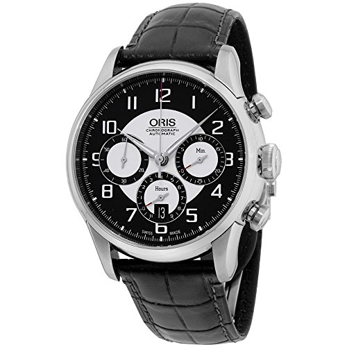 ORIS MEN'S RAID 22MM BLACK LEATHER BAND AUTOMATIC WATCH 676 7603 40 94 SET