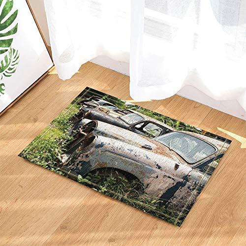 dsgrdhrty Auto Liebe Dekor Retro Reisende LKW Aufgegeben in Gras Bad Teppiche rutschfeste Fußmatte Indoor 60X40 cm -