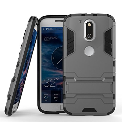 CASSIEY (TM) Tough Military Grade Armor Defender Series Dual Protection Layer Hybrid TPU + PC Kickstand Case Cover for Moto G + Plus 4th Gen (G4) - Gray