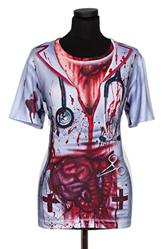 hirt Halloween Blut Druck Darm Karneval Kostüm Weiß Rot ()