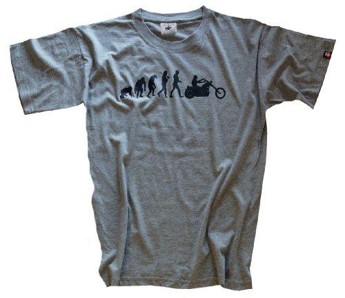 Shirtzshop Erwachsene T-Shirt Original Chopper Motorrad Evolution, Grau, XL, sshop-evochopp-t